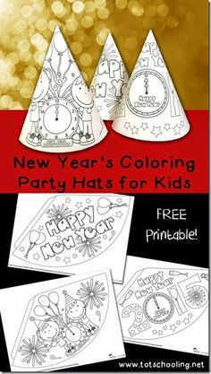 New Years Coloring Party Hats. Printable activity for New Year's Eve for kids to color, decorate and turn into party hats!Free New Years Coloring Party Hats. Printable activity for New Year's Eve for kids to color, decorate and turn into party hats!