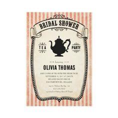 Vintage Bridal Shower Tea Party Invitations by Unique Invitations