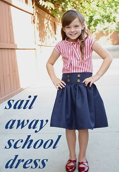 Sail Away (Sailor) School Dress Tutorial (refashioned men's shirt, flat front skirt) from At Second Street