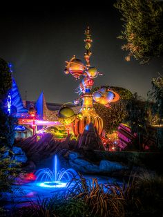 Astro Orbiter - Tomorrow Land - Disneyland. This little area makes a great spot to shoot the Astro Orbiter.