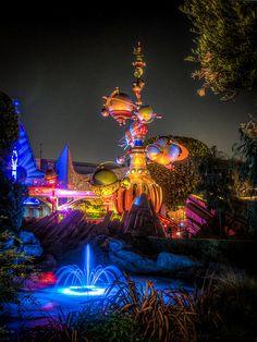 Astro Orbiter - Tomorrow Land - Disneyland. This little area makes a great spot to shoot the Astro Orbiter.