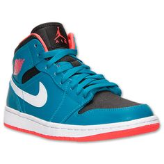 Men\u0026#39;s Air Jordan Retro 1 Mid Basketball Shoes | Finish Line | Tropical Teal/Infrared