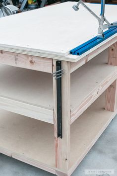 Woodworking Workbenches Free DIY Workbench Plans - Learn how to build a DIY Mobile Workbench with Shelves and storage for quarts of paint and stain. Add a clamp track and magnetic strips to hold stray bits. Essential Woodworking Tools, Antique Woodworking Tools, Unique Woodworking, Woodworking Workbench, Woodworking Projects Diy, Woodworking Furniture, Wood Projects, Woodworking Videos, Youtube Woodworking