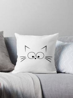 Pillow Cartoon Illustration - - - Crochet Pillow Triangle - Vintage Boho Pillow - Pillow With Words Design Pillow Crafts, Diy Pillows, Decorative Pillows, Cushions, Throw Pillows, Pillow Mat, Cat Pillow, Pillow Room, Cat Crafts