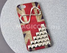 "Studded Iphone 5 case with One Direction ""Directioner"" Infinity, Iphone Case, Iphone 5 case, Hard Iphone Case,Vintage Flags iPhone Case. $19.99, via Etsy."