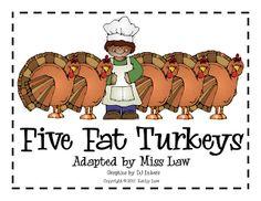 First Grade a la Carte: 5 Fat Turkeys printable book