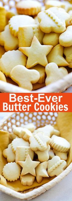 Butter Cookies – EASIEST & BEST butter cookies recipe ever! Loaded with butter, crumbly, melt-in-your-mouth deliciousness. Perfect cookies for holidays : rasamalaysia Cookie Desserts, Cookie Recipes, Dessert Recipes, Cookie Cups, Butter Cookies Recipes, Cookie Ideas, Drink Recipes, Best Butter Cookie Recipe Ever, Melt In Your Mouth Butter Cookies Recipe