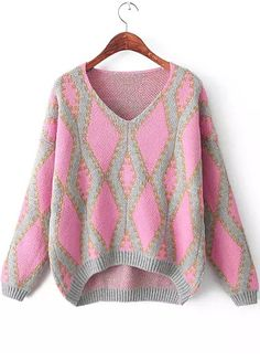 Red V Neck Long Sleeve Geometric Pattern Sweater 23.33