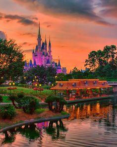 Sunset on Cinderella Castle Magic Kingdom