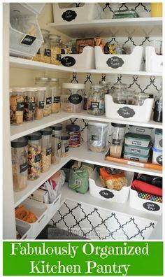 Fabulously organized kitchen pantry :: OrganizingMadeFun.com