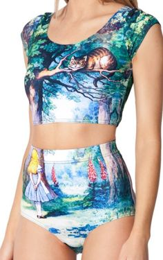 Matching bikini swimsuit / crop top and bottoms set with digital Alice In Wonderland print! Can be worn together or separately. Size: One Size, fits small to medium Material: Polyester Garment Care: Hand-wash Only · High waisted bikini bottoms · Scoop neckline crop top with cap sleeves...