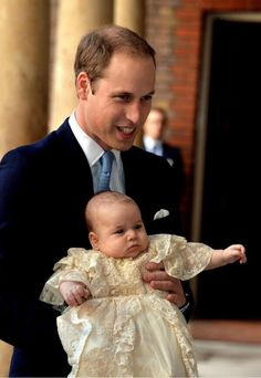 Father and son ... TRH The Duke of Cambridge with Prince George 23rd October 2013