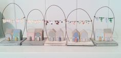 Little House scenes with bunting.  Custom orders welcome £15 each made by Lynda Marwood for Kittiwake Design