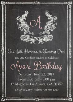 Shabby Chic Vintage Chalkboard Invitation Birthday Party Bridal or Baby Shower Wedding Initial Digital on Etsy, $20.00