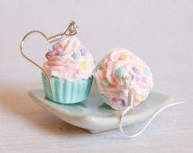 Pastel pink and mint cupcake earrings made of Polymer clay miniature food jewelry