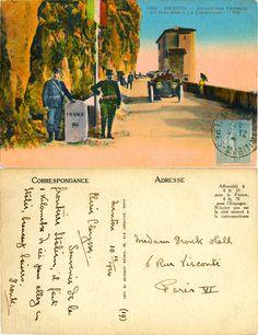 Menton - Douaniers français et Italiens à la Frontière - 1924 (from http://mercipourlacarte.com/picture?/1922/)