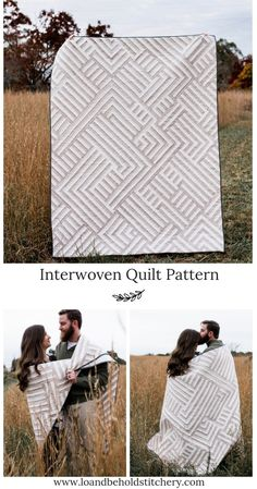 Interwoven is a fun and modern strip piecing quilt. Interwoven is a fun and modern strip piecing quilt. Star Quilt Patterns, Modern Quilt Patterns, Modern Quilting Designs, Quilt Designs, Neutral Quilt, Quilt Modernen, Geometric Quilt, Strip Quilts, Quilt Blocks