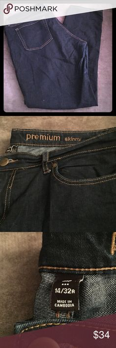 REDUCED! Gap Premium Skinny Jeans Gap Premium Skinny Jeans in dark wash. Size 14W x 32 L. Jeans are 84% cotton, 15% polyester and 1% spandex. Good condition and rarely worn. GAP Jeans Skinny