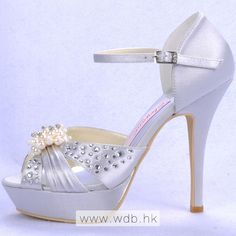 "Amazing 5"" Pearl Brooch Rhinestones Peep-toe D'orsay - Ivory Satin Wedding Shoes (11 colors) $85.98"