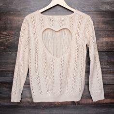 heart cut out sweater in beige by reverse – shop hearts