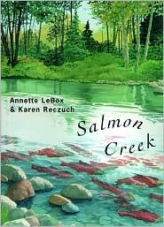 Review: Salmon Creek    Reviewed by Victor Elderton    salmoncreekISBN: 0-88899-458-3  Published by: Groundwood Books / Douglas & McIntyre  Written by: Annette LeBox  Illustrated by: Karen Reczuch    It's not often in the Pacific Northwest that a children's book is published that does a great job of illustrating the various aspects of a salmon's habitat and ecology, while being told in a poetic style that children and adults would find interesting.