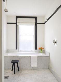 Alcove Built-In Bathtub by Charles Mellersh, Remodelista Bathroom Renos, Bathroom Faucets, Bathroom Interior, Marble Bathrooms, Bathroom Black, Black Bathtub, Condo Bathroom, White Bathrooms, Built In Bathtub