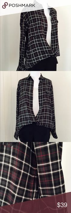 RAG & BONE Plaid Shirt w Pockets Beautiful plaid shirt by Rag & Bone. * Front AND side pockets * Soft cotton blend * Black plaid with thin lines of white and red * Excellent condition rag & bone Tops Blouses