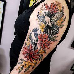 Bird And Flower Tattoo, Flower Tattoos, Arm Tattoo, Sleeve Tattoos, Tattoo Art, New Tattoos, Cool Tattoos, Tatoos, Australian Tattoo