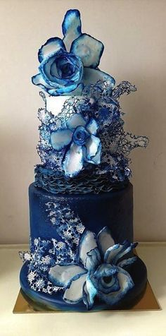 55 Unique Creative Cake Ideas and Designs - Blue Rose Cake