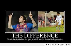 The difference between Messi and Ronaldo. I still love them both even though this is true! Soccer Memes, Soccer Quotes, Football Memes, Sports Memes, Football Soccer, Basketball, Funny Soccer, Funny Sports, Messi Neymar Suarez