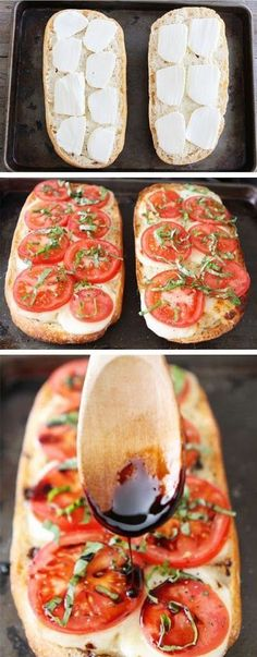 Easy Caprese Garlic Bread Use whole wheat bread, ricotta on bottom, sprinkle allowed amount of mozerella