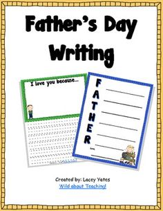This pack includes two writing activities for Father's Day.-Acrostic Poem-