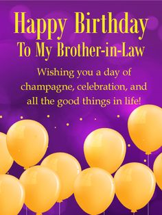 Golden Birthday Balloon Card For Brother In Law