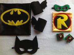 Batman and Robin capes and accessories sets, via Etsy.