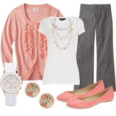 I like the pink, gray and white combo. But I really just love the cardigan with the ruffles on it