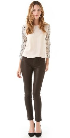 Equipment Blouse and Rich and Skinny Coated Jeans