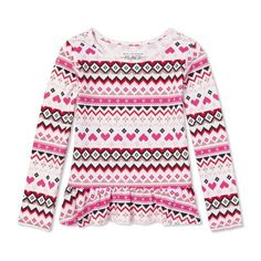 Baby Girls Toddler Long Sleeve Embellished Printed Peplum Top - White - The Children's Place