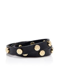 Tory Burch LEATHER DOUBLE WRAP LOGO STUD BRACELET/ I have this bracelet and its GREAT