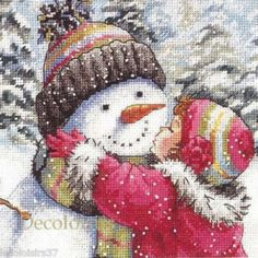 J'ai passé ma commande de Kit Point de Croix Compté Counted Cross Stitch Kit Dimensions A Kiss for Snowman sur Lish, € 21,42
