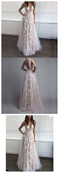 Sexy Deep V Neckline Lace Prom Dresses, Long Prom Dress, Custom Cheap Prom Dress, Long Evening Dresses, Cheap Evening Prom Dress, 17419