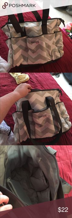 Grey and white big diaper bag In excellent condition. Real big bag lots of storage and pockets Bags Baby Bags