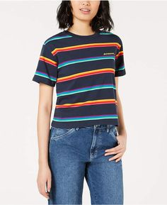 7c1c9b9c0cab5 Dickies Cotton Rainbow Striped Tomboy T-Shirt - Blue XS