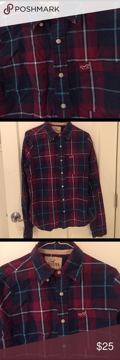Hollister Long Sleeve Button Up Stylish Maroon Hollister Button Up with navy blue, light blue and white color scheme. Sized Medium. Goes great with khakis,  jeans, or Cargo Shorts. Hollister Shirts Casual Button Down Shirts