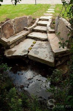 Artists Stone bench and path, Sunny Wieber, Stone Art Garden Paths, Garden Art, Stone Bench, Stone Masonry, Dry Stone, Exterior, Stone Work, Water Garden, Outdoor Projects