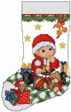 "Ellen Maurer-Stroh ""Baby's First Christmas Stocking"" Baby's First Christmas Stocking, Cross Stitch Christmas Stockings, Cross Stitch Stocking, Christmas Stocking Holders, Xmas Cross Stitch, Cross Stitch For Kids, Christmas Ornaments To Make, Noel Christmas, Cross Stitch Charts"