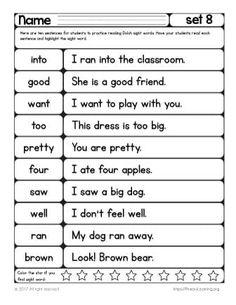 Second Grade Sight Words, Sight Word Spelling, Sight Word Sentences, Sight Word Flashcards, Sight Word Worksheets, Sight Word Practice, Sight Word Activities, Reading Worksheets, Third Grade