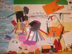 The kids made examples of living and nonliving things found on the farm.