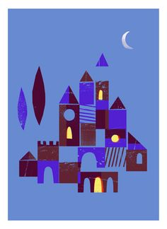 Castle / Night - Illustration I created in collaboration with lovely people from Jolly Edition. Exclusively available in their Etsy store: https://www.etsy.com/listing/226954356/day-and-night-castle-set-of-two-8x10?ref=shop_home_feat_2