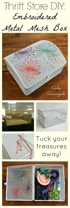 """Give a thrifted metal mesh box a decorative makeover with embroidery and paint- the perfect """"hideway box"""" to store your stuff when last minute guests pop by! Fun, easy thrift store upcycle & repurpose craft project from #SadieSeasongoods / www.sadieseasongoods.com"""