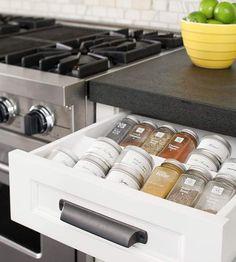 Outfit your kitchen cabinets with implements designed to make the most of your storage space. These add-ons and smart configurations rethink cabinetry to create kitchens that are hard-working and organization-friendly. Spice Drawer, Spice Storage, Spice Organization, Organizing Ideas, Smart Storage, Kitchen Cabinet Storage, Storage Cabinets, Kitchen Cabinets, Spice Cabinets